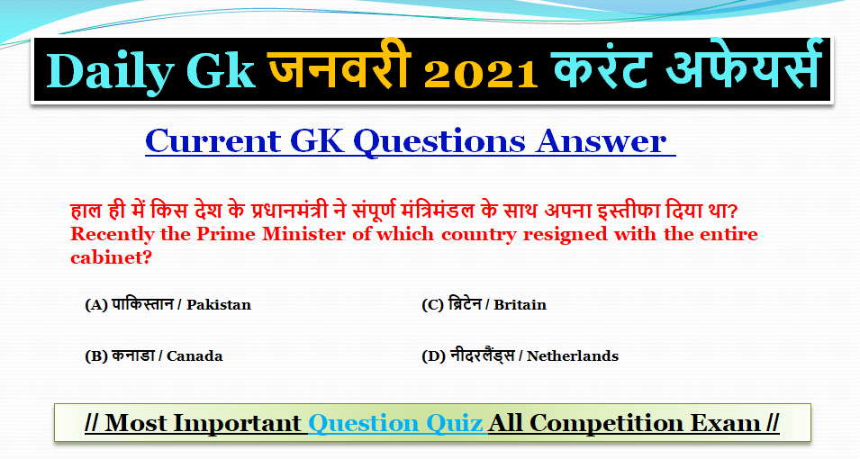 Most Important Current GK Questions and Answers January 2021