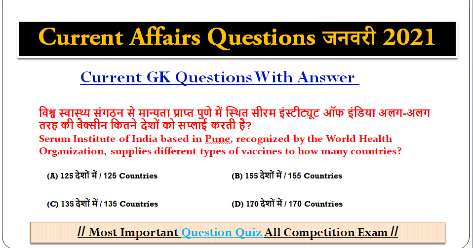 Top 10 Best Current Affairs Questions Answers Quiz