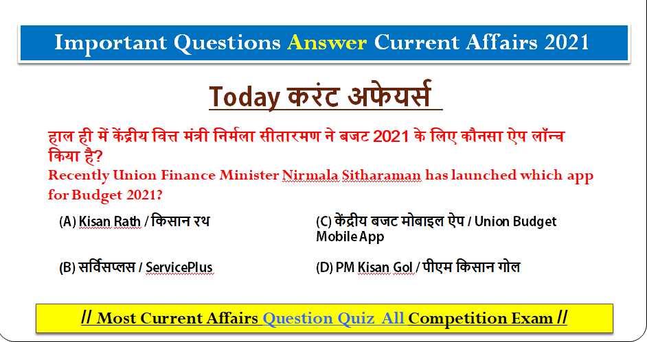 Today Current Affairs 2021 Best Important Questions Answers