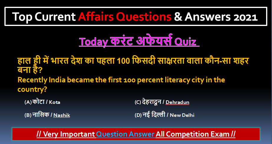 Latest Today Top Current Affairs Questions & Answers 2021