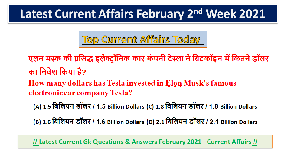 Top Current Affairs Today - Latest Current Affairs February 2021
