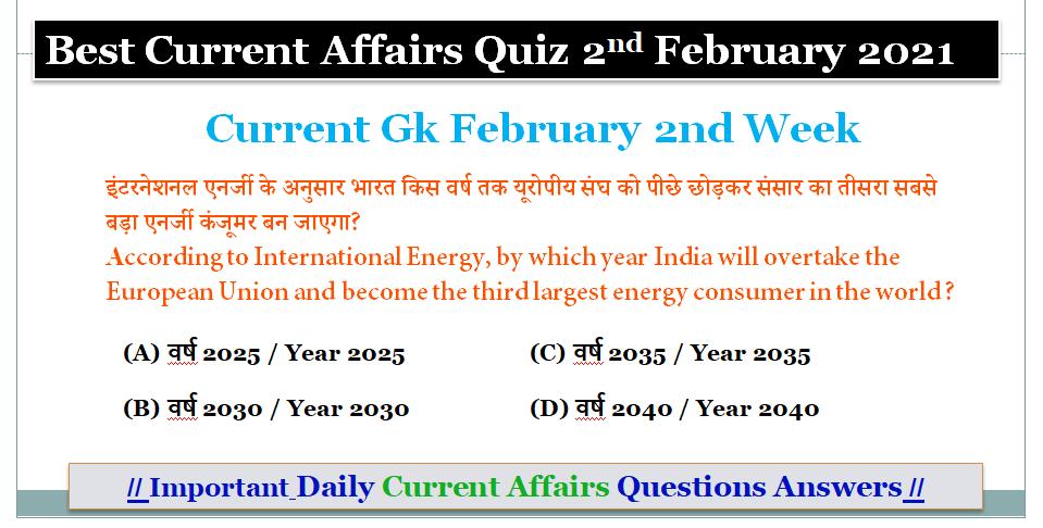 Best Current Affairs Quiz 2021: Current Gk February 2nd Week
