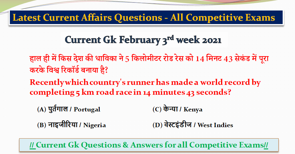 Latest Current Affairs Questions - All Competitive Exams