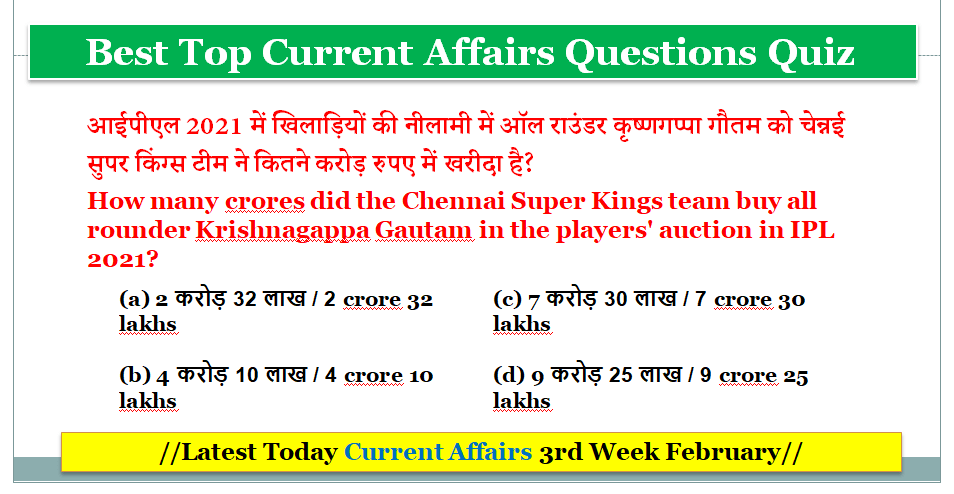 Top Latest Today Current Affairs 3rd Week February 2021
