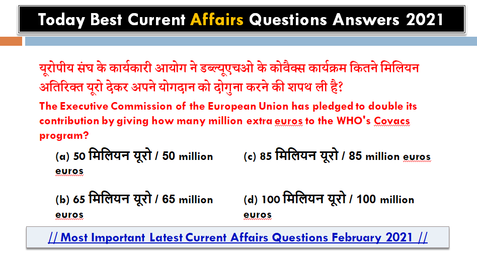 Today Best Current Affairs - Latest Current Affairs 2021