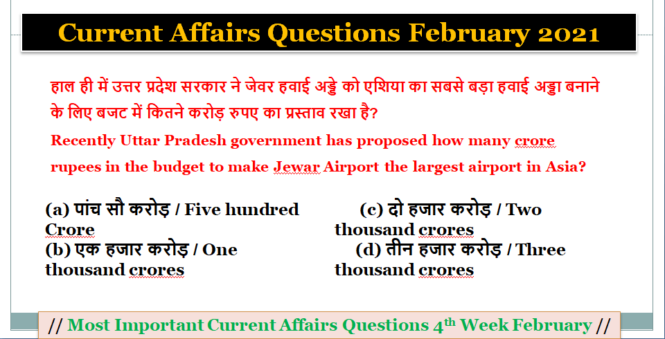 Best Today Current Affairs 2021 - Current Affairs Questions