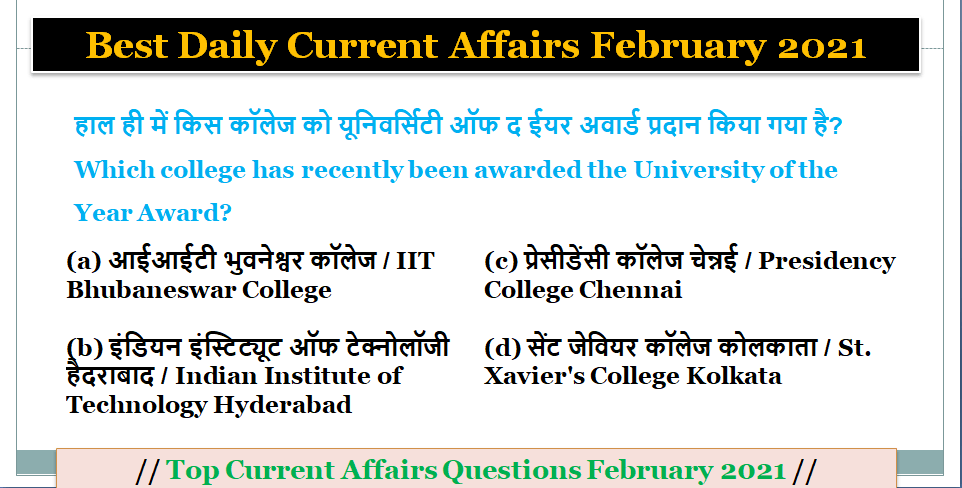 Top Current Affairs Today's - Best Daily Current Affairs February 2021