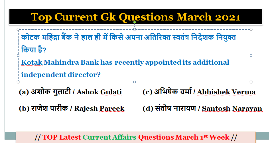 Top Current Gk Today - Latest Current Affairs March 2021