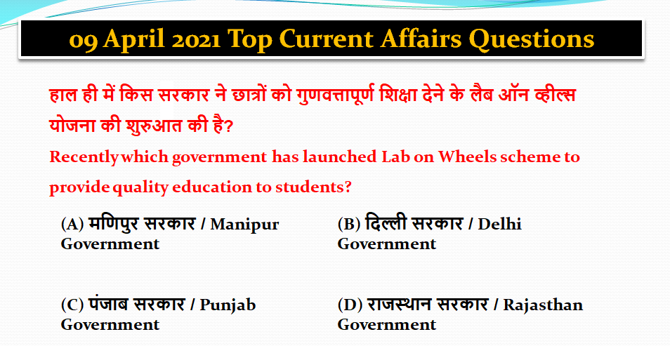 Best Daily Current Affairs in Hindi April 2nd Week 2021